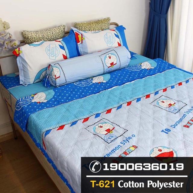 Chăn hè poly cotton doraemon xanh kích thước 1,8 x 2m cho bé giá rẻ vô địch sỉ chăn ga gối đệm [122