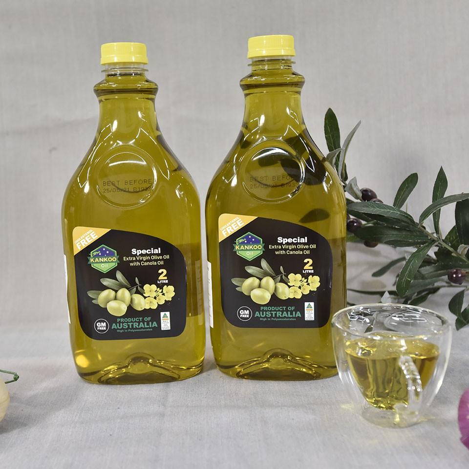 Combo 2 chai dầu ăn Ôliu hạt cải chiên xào Kankoo 2L