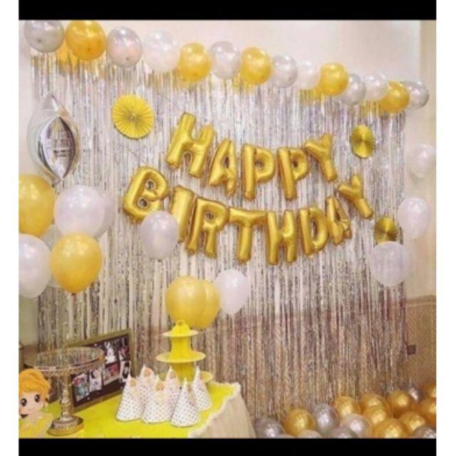 Trang trí sinh nhật 💝FREE SHIP💝 Combo 2 rèm kim tuyến và bóng