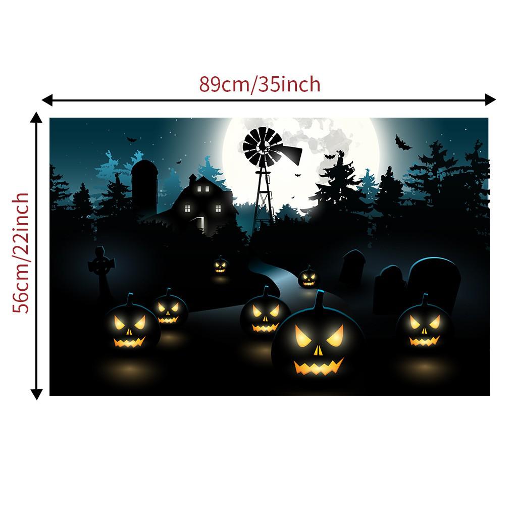 Halloween Dark Night Pumpkin Lamp Skeleton Wall Stickers Kids Bedroom Crafts