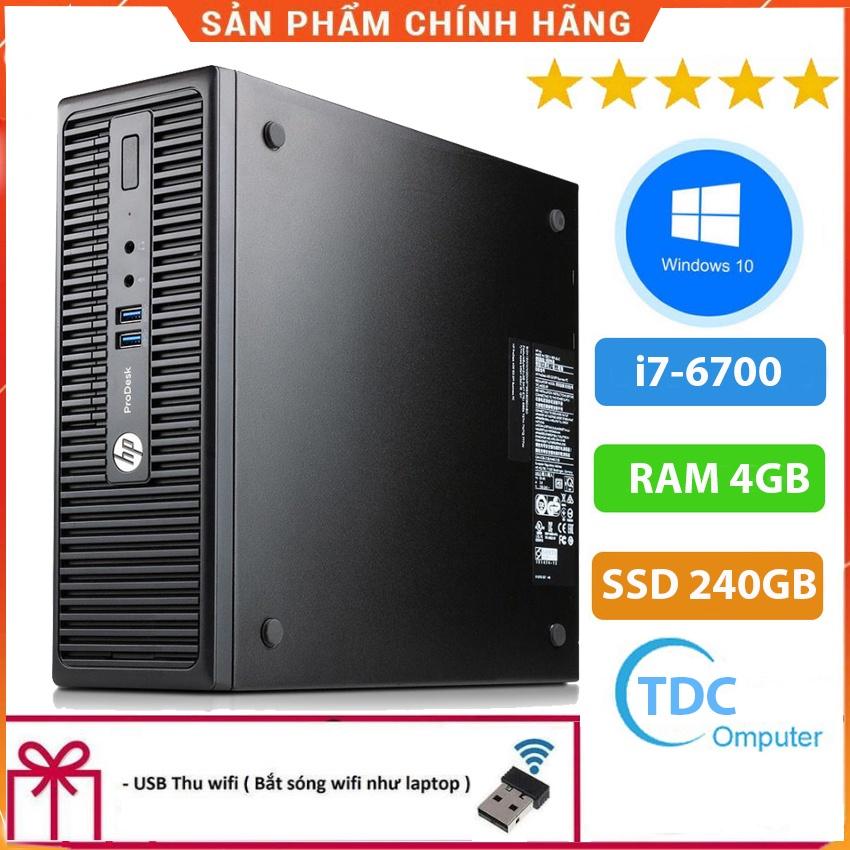 Case máy tính đồng bộ HP ProDesk 400G3 SFF, cpu core i7-6700, ram 4GB, SSD 240GB Tặng USB thu Wifi