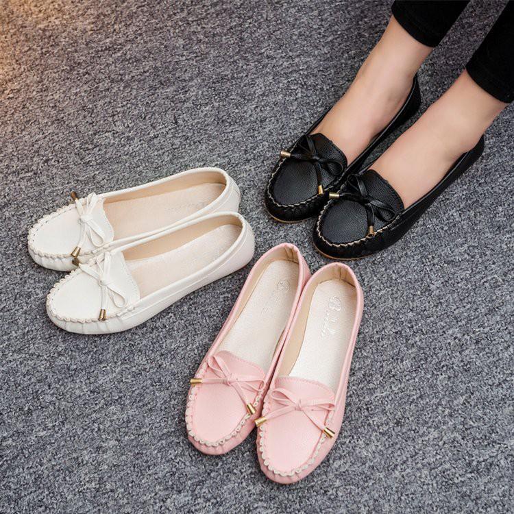 Giày lười Moca nơ siêu êm chân-GCG13