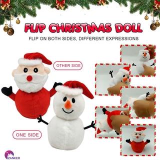 ZAN Santa Claus Doll Double-sided Flip Father Christmas Snowman Plush Doll Xmas Christmas Decor Kid Toy Gift ZANKER