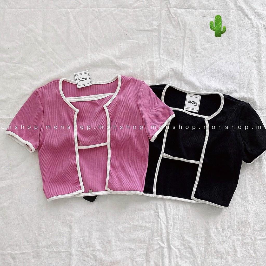 Áo croptop tay ngắn, set áo thun croptop & Bra , 4 màu cực xinh cực thời trang