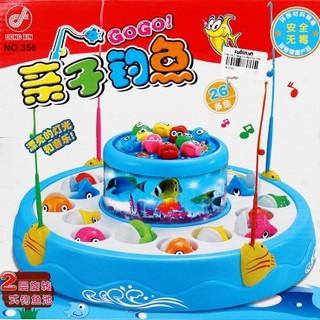 Bộ đồ chơi câu cá nghe nhạc 2 tầng 4 cần
