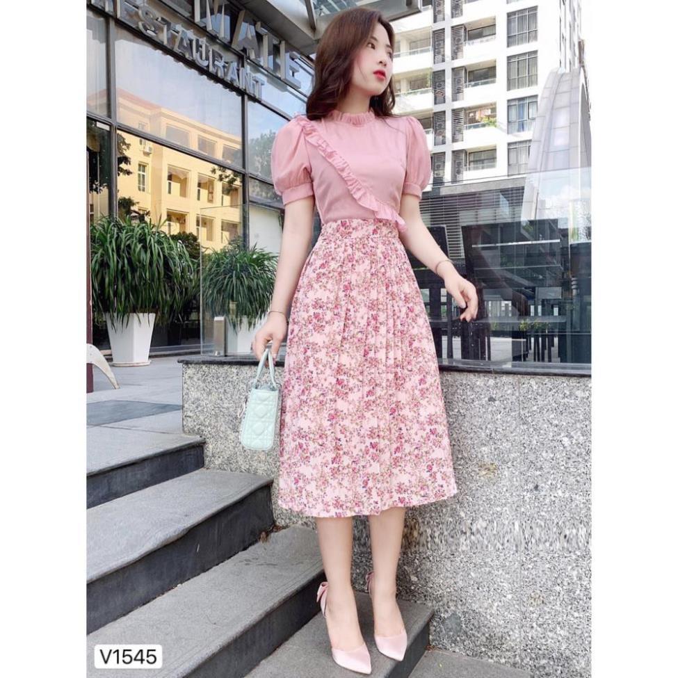 Đầm hồng chân hoa dập li V1545 - Đầm thiết kế DVC Kèm ảnh thật