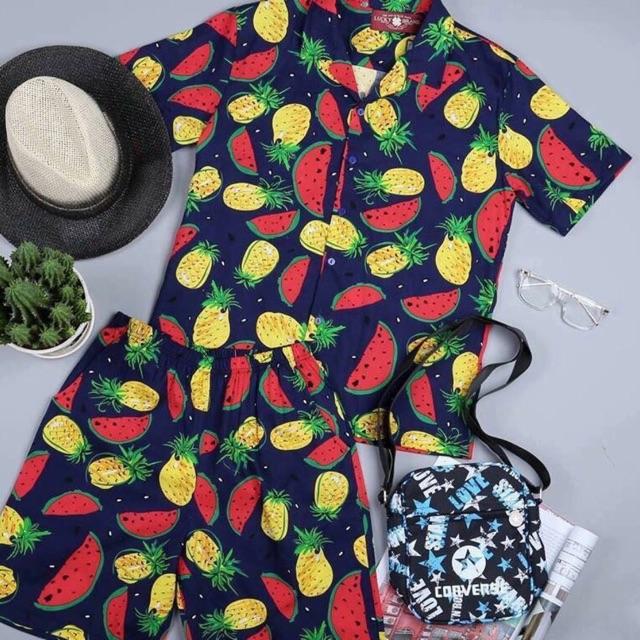 Bộ hoa quả dưa dứa đi chơi đi biển đủ size bộ cho nam và nữ Bộ hè
