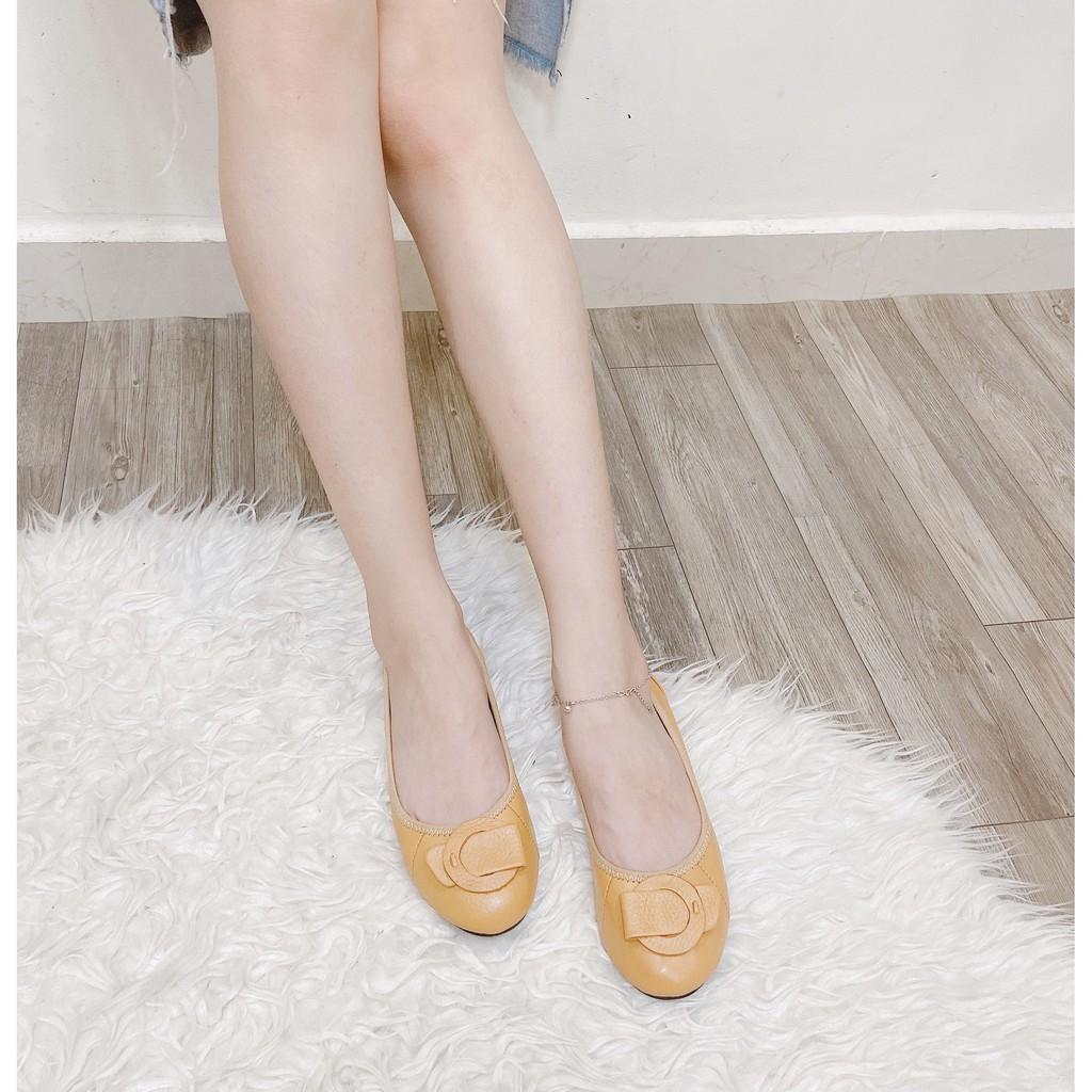 Giày búp bê da thật Nơ Tròn- 2123