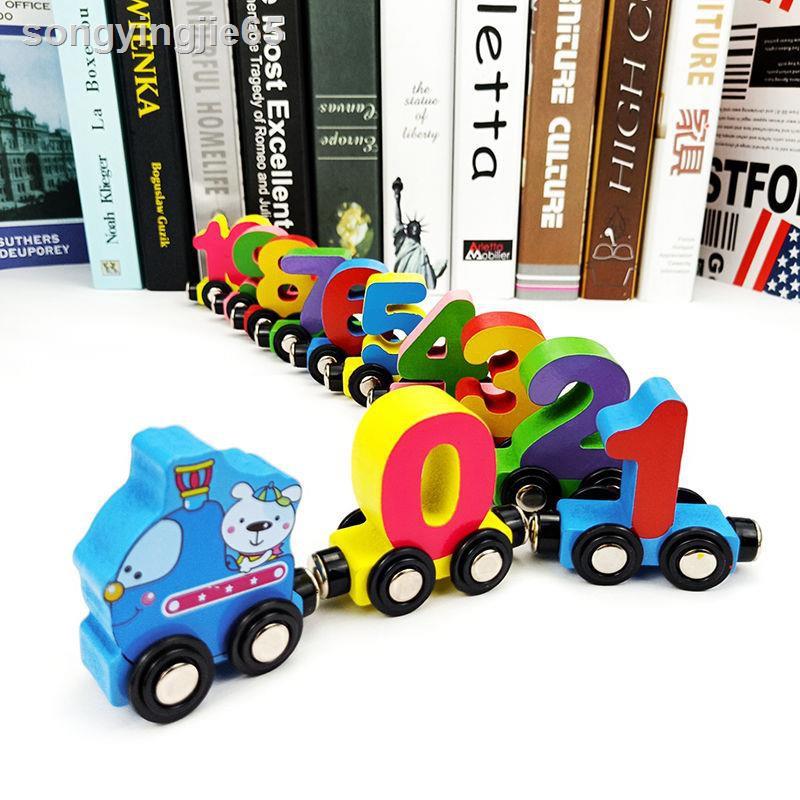 ♗Bộ đồ chơi tàu lửa bằng gỗ có nam châm dành cho bé từ 2-3-6 tuổi