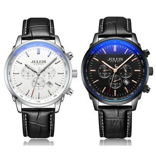 [Mã FARSBR153 giảm 15% đơn 150K] Đồng hồ nam JAH-133AB Julius Hàn Quốc dây da 6 kim (2 màu)