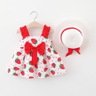 [Tặng Nón] Váy Bé Gái Nơ Dâu Tây Hàn Quốc 1 2 3 4 tuổi TN303 QC
