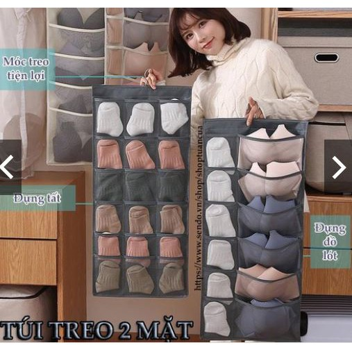 FREESHIP Túi treo đồ lót 2 mặt 30 ô đa năng nhiều ngăn để tất vớ có móc ích lợi và tiện dụng kiểu mới