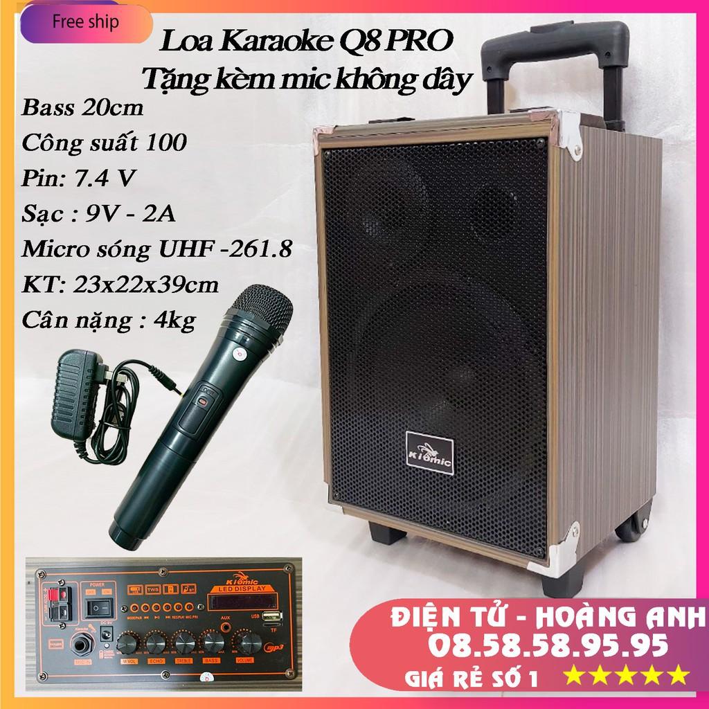 [Tặng Micro Không Dây] Loa Kéo Karaoke Bluetooth Kiomic Q8 Pro Hát Siêu Hay Mẫu Mới 2020