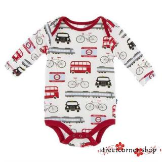 ✿Sc♚Toddler Baby Boy Girls Long Sleeve Car Bicycle Print Romper Jumpsuit Bodysuit