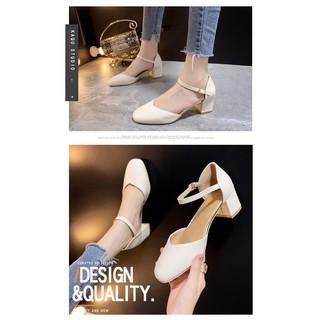 Giày nữ cao gót đế vuông, 5p, kiểu dáng tôn chân, dễ đi, B8