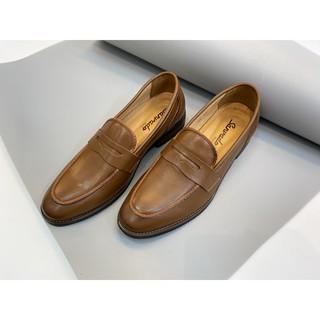 Giày lười công sở da trơn màu nâu (HM-177)