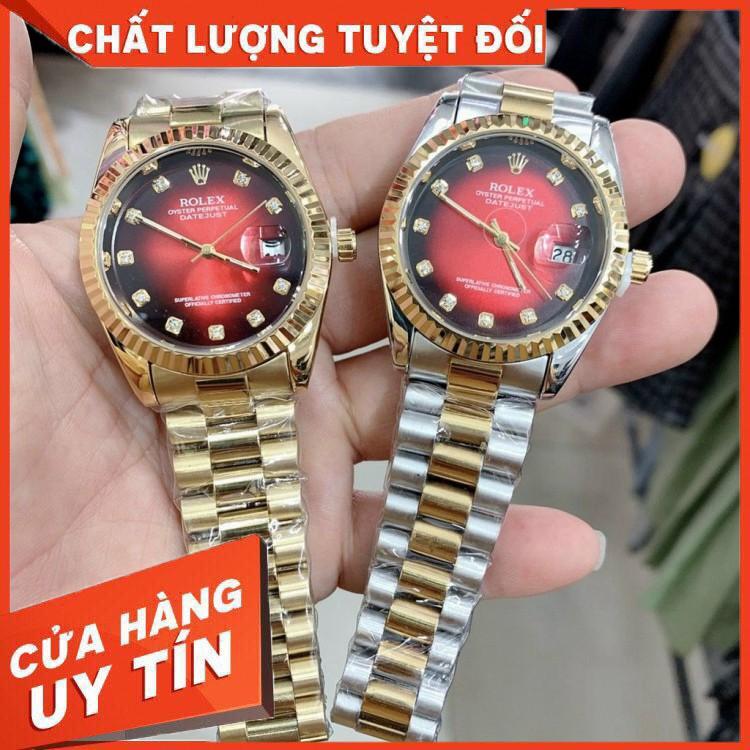 (rolex.viền trơn) Đồng Nam Rolex mã RL156 dây đặc nguyên khối, mạ không rỉ, dây full vàng - bảo hành 12 tháng