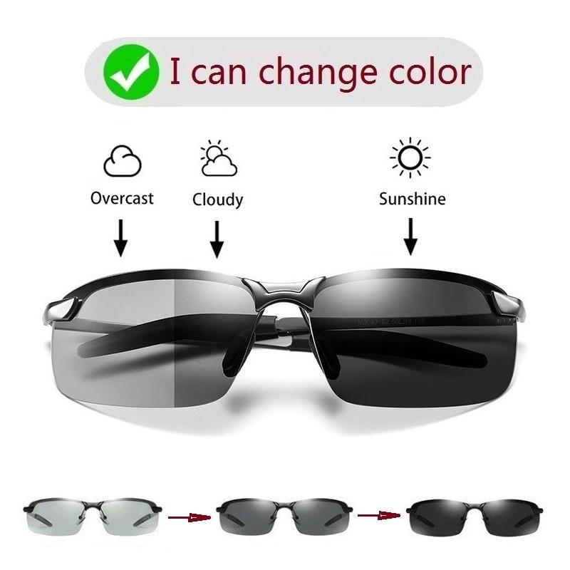 Kính mát chống nắng phân cực tròng thay đổi màu sắc có tầm nhìn ban đêm dành cho nam