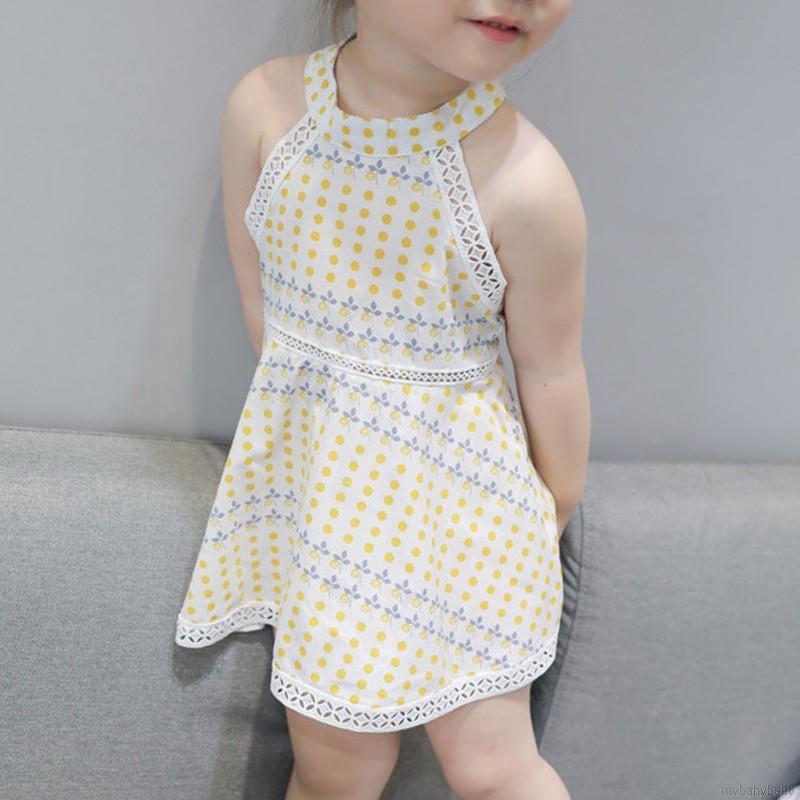 Đầm cotton sát nách kiểu dáng công chúa cho bé gái