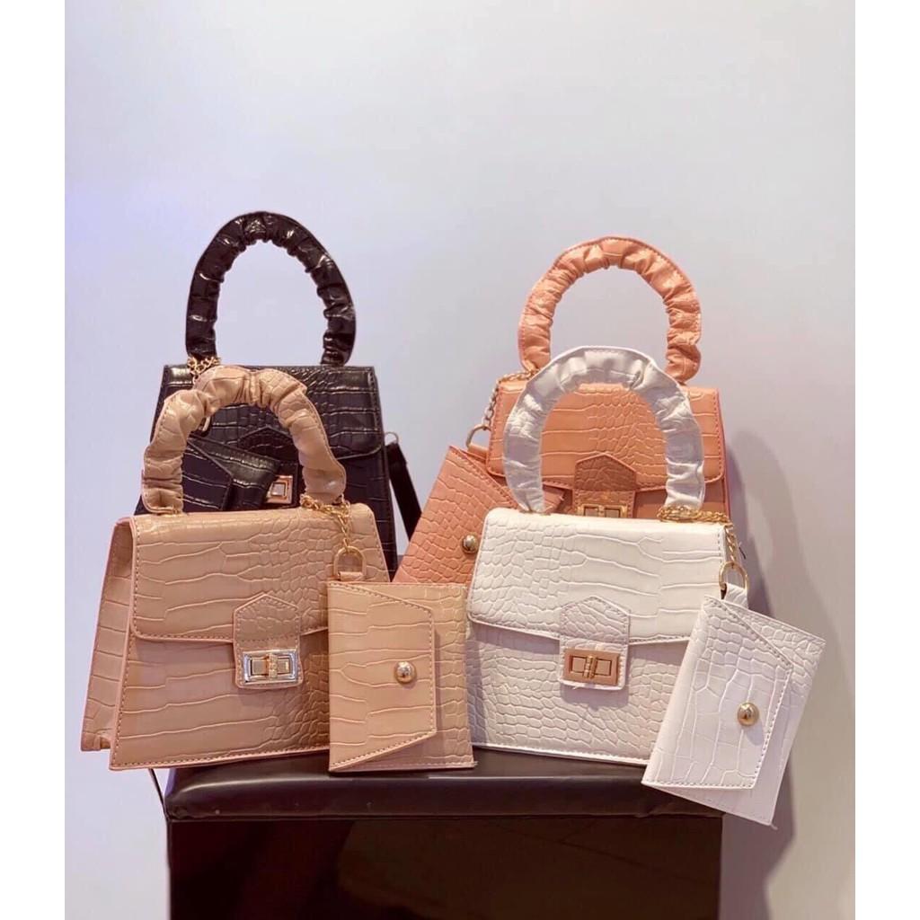 Túi xách nư thời trang đeo chéo quai nhúm kèm ví mini da cá sấu mẫu mới nhất CKVI03+ ảnh shop chụp