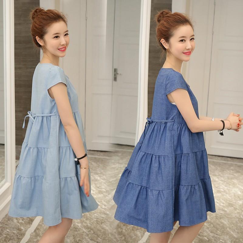 K90 Váy bầu mùa hè cổ tròn trẻ trung, năng động