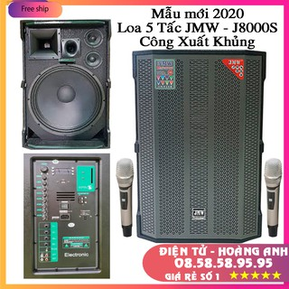 Loa kéo công suất lớn – JMW J8000s – Bass 5 tấc 2 trung 1 treble hát karaoke cực đã với 2 micro không dây cao cấp