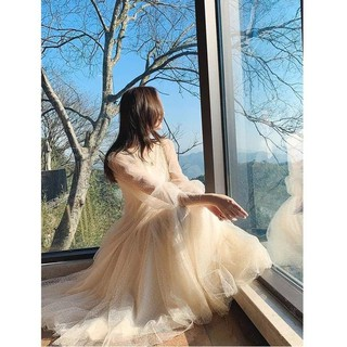 Váy lụa tơ tằm tay lưới phồng cổ tích nữ siêu ngọt ngào