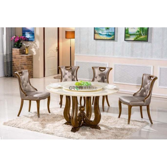 Bộ bàn ăn tròn gỗ sồi mặt đá nhập khẩu giá rẻ tại HCM GreenFurni TD-T079-13