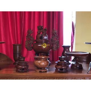 Bộ lư hương gỗ hương trơn 50cm