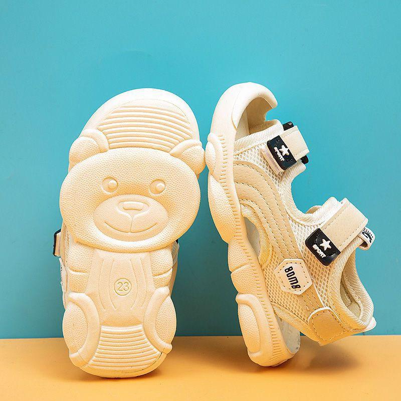 Dép sandal đế gấu chống vấp mềm êm chân cho bé trai bé gái❤️Sandal bé trai bé gái mũi kín quai dán chống đau chân bé