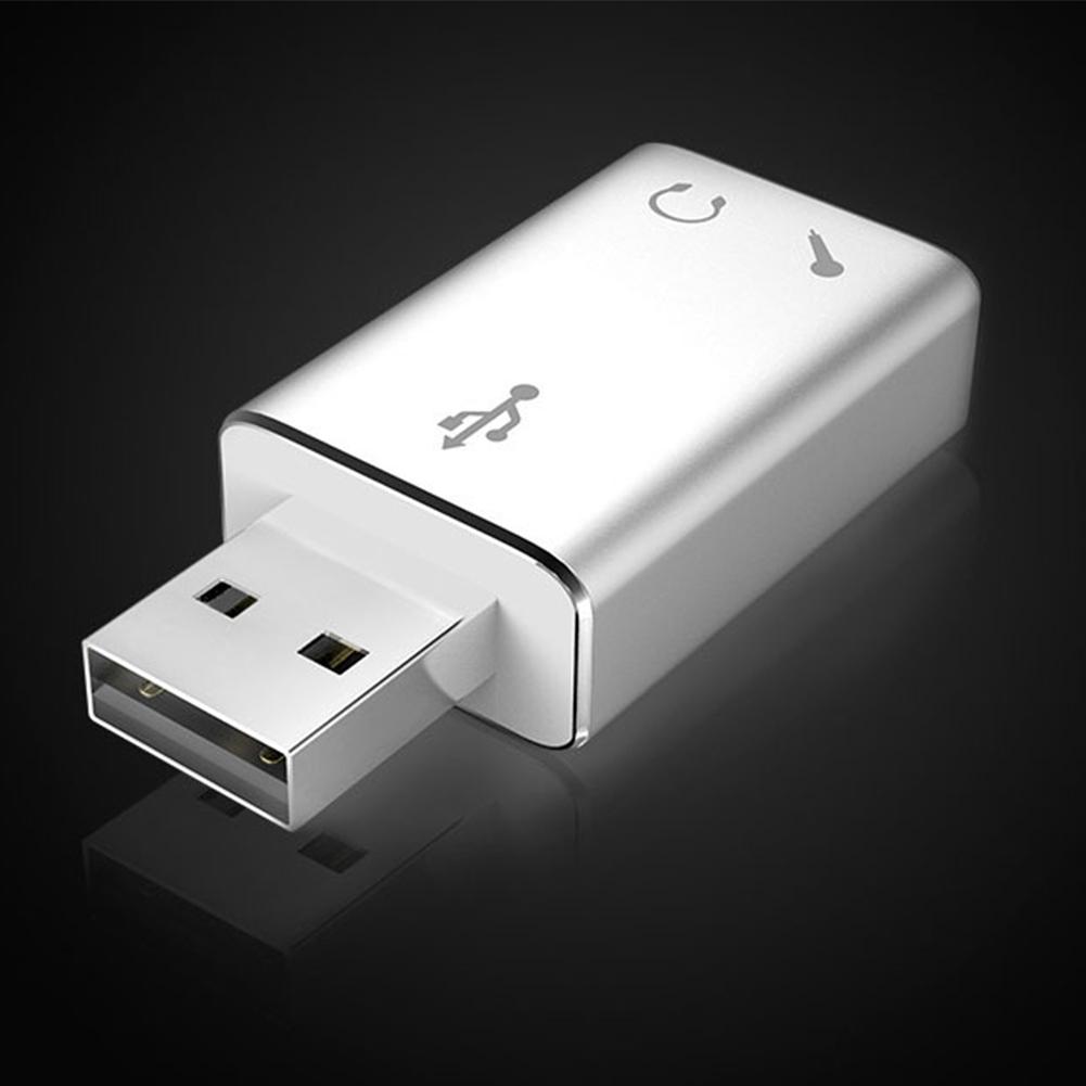 Aluminium Alloy Adapter Computer Portabe Audio Converter External USB Stereo Microphone Sound Card