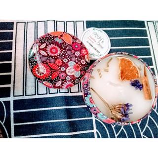 [Hàng Nến HANDMADE] Nến thơm Sáp Cọ Thiên Nhiên kiểu Hộp thiếc vừa tay hoa văn Vintage