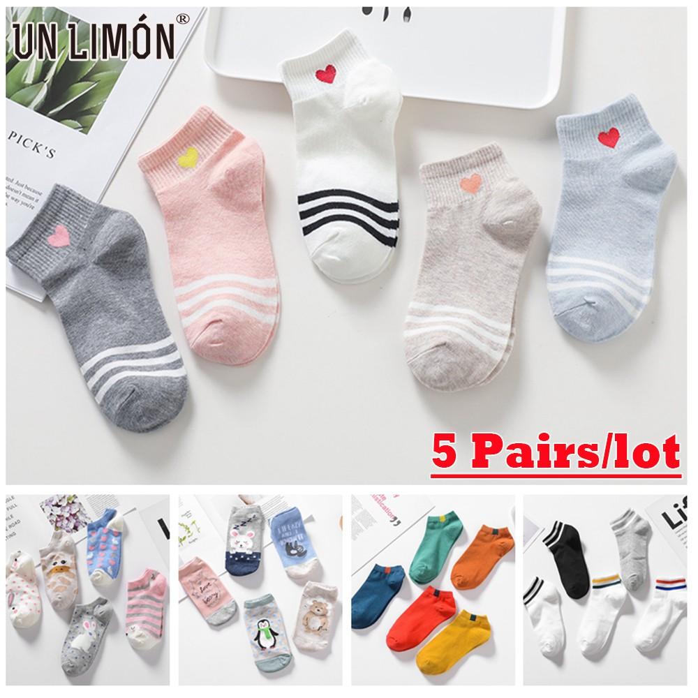 UNLIMON 5 Pairs Women Cotton Socks Korean Fashion Cute Anima