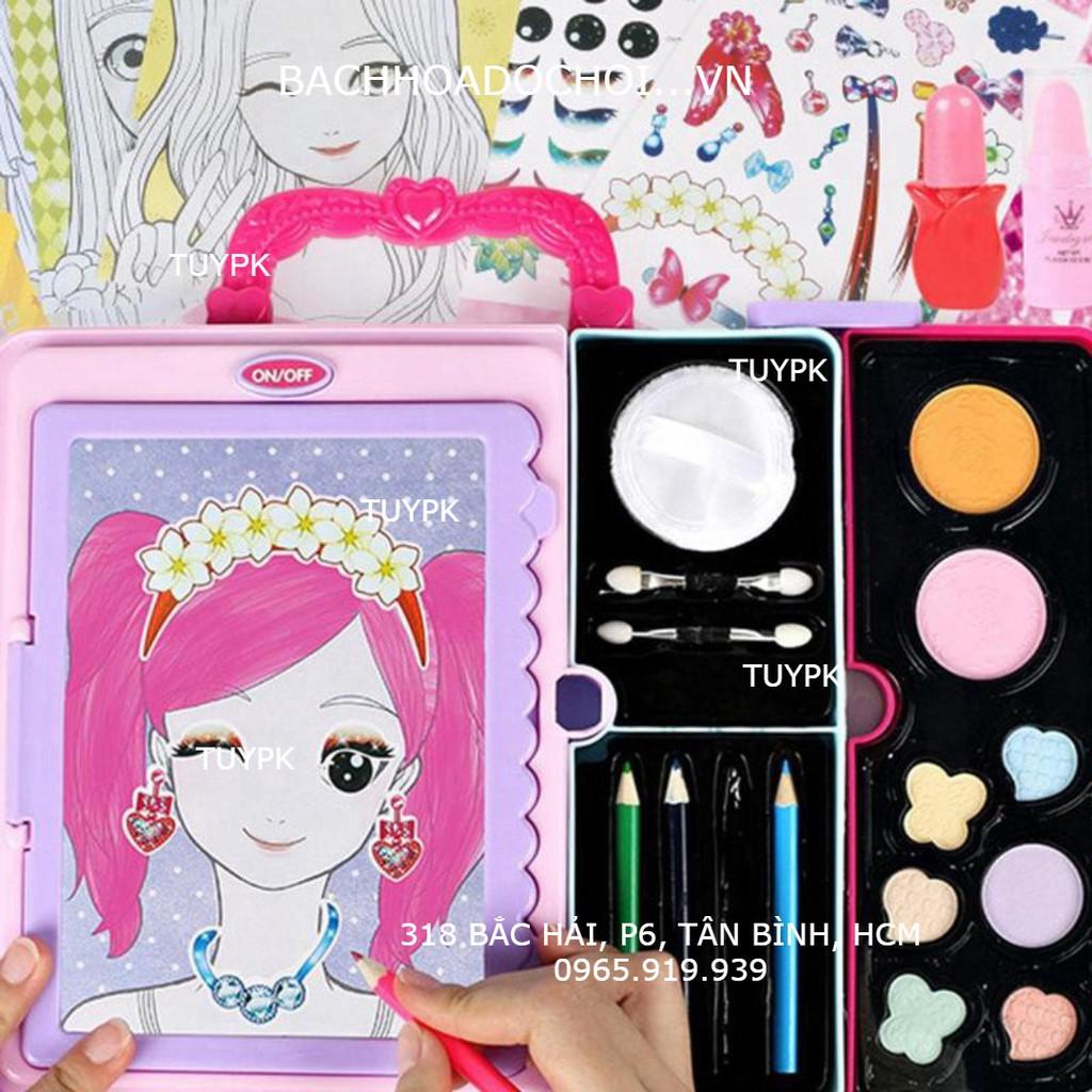 LOẠI ĐẸP- Bảng đèn vẽ cho bé gái, Tập Trang Điểm, Đồ Chơi make up Xách Tay Hộp Đựng Mỹ Phẩm