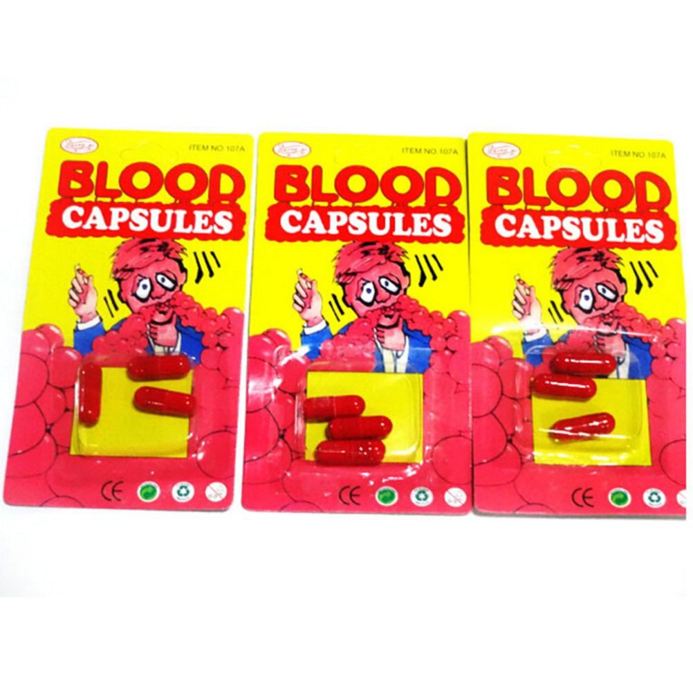 Funny Blood Pill Trick Toys Whimsy Prop Vomiting Blood Capsule Joke Toys