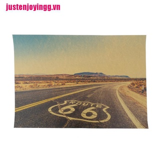 【justenjoyingg.vn】Route 66 Retro Kraft Paper Poster Tin Signs Wall Art Painting House Decor