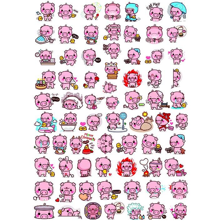 Sticker em lợn hồng P01 gói nhỏ full set dán nón bảo hiểm, notebook, bàn ghế, tủ lạnh, laptop,... size...