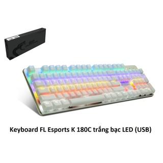 Bàn phím cơ chuyên game FL ESPORTS K 180C màu trắng bạc có đèn led dây USB bọc dù chống đứt gãy thumbnail