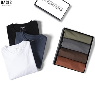 Áo thun nam cổ tròn cotton Premium 5 màu mới trẻ trung, lịch lãm Basis AT04