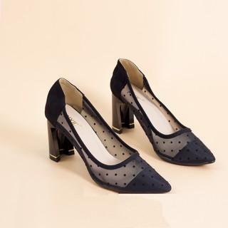 Giày Cao Gót 7cm Đế Vuông Lưới Chấm Bi Màu Đen Pixie P264