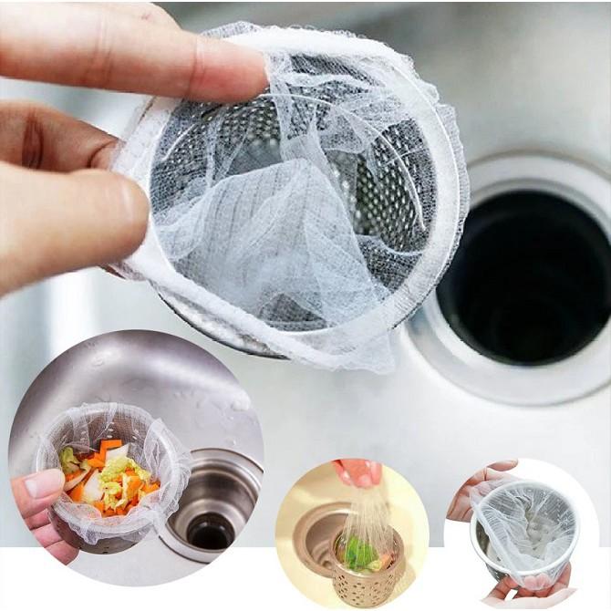 [ Bịch 100 cái ] túi lưới lọc rác bồn rửa chén - set 100 túi đựng rác lỗ thoát nước tiện dụng