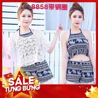 Bikini thổ cẩm 3 chi tiết áo ren chùm ngoài -Hàng nhập khẩu