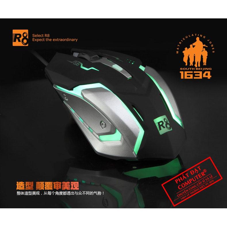 Mouse R8-1634 USB (Đen bạc)