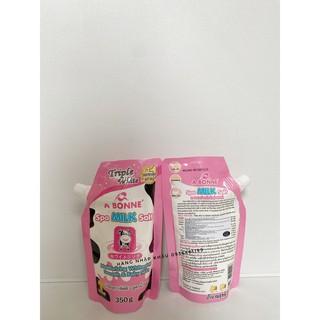 COMBO 2 TÚI Muối tắm sữa bò tẩy tế bào chết A Bonne Spa Milk Salt 350g - có vòi thái lan