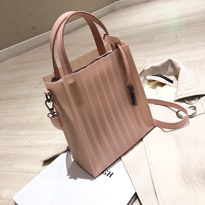 New bag handbags new 2019 summer solid color striped jelly b