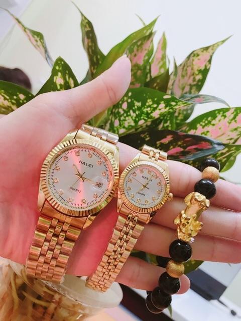 Cặp đồng hồ đôi Halei dây thép vàng mặt trắng đẹp đẽ