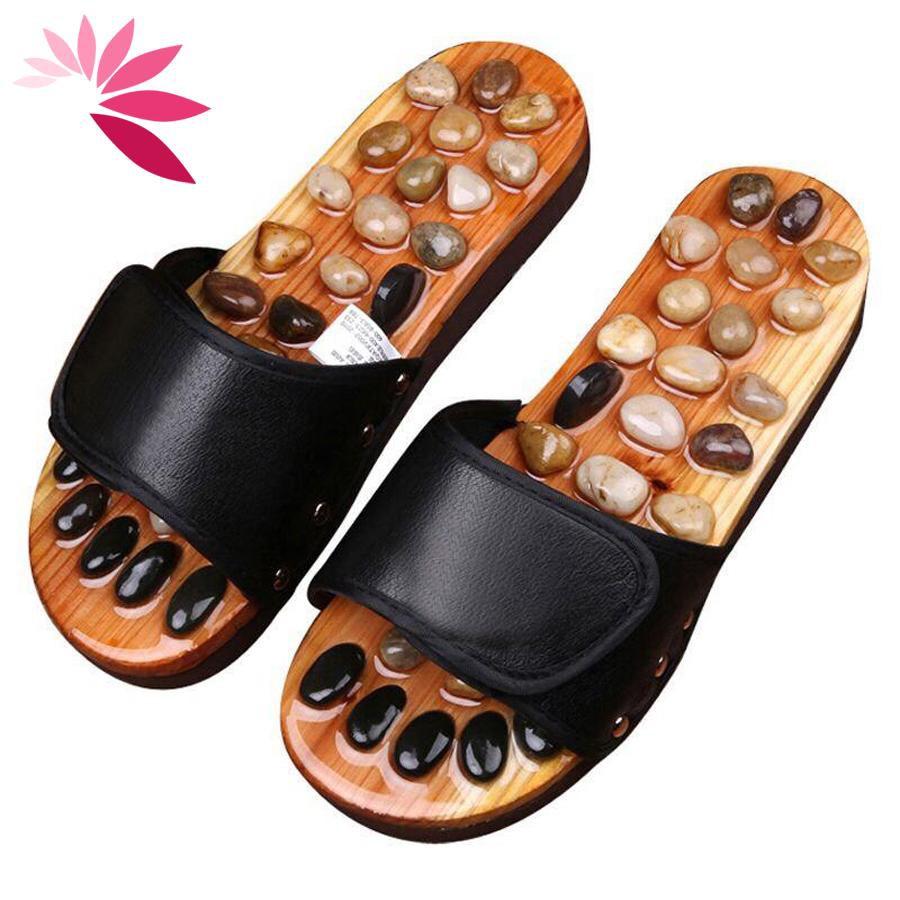 Dép massage khảm đá bấm huyệt bàn chân trên gỗ tự nhiên size từ 37-41