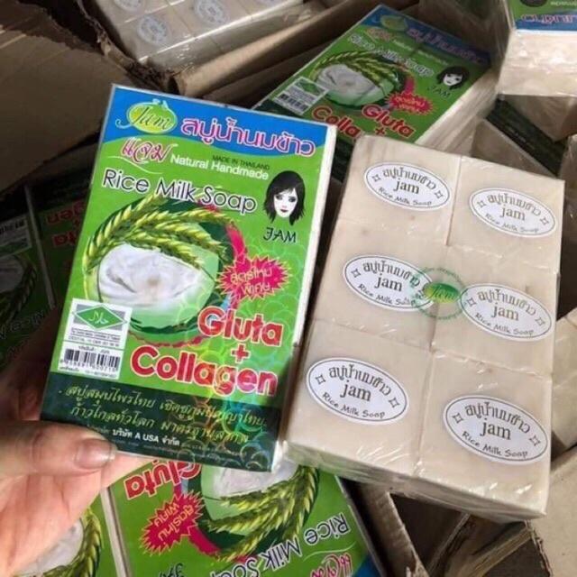 [HCM]Lốc Xà Bông cám gạo thái lan Jam Rice Milk Soap x1 lốc (12 cục)
