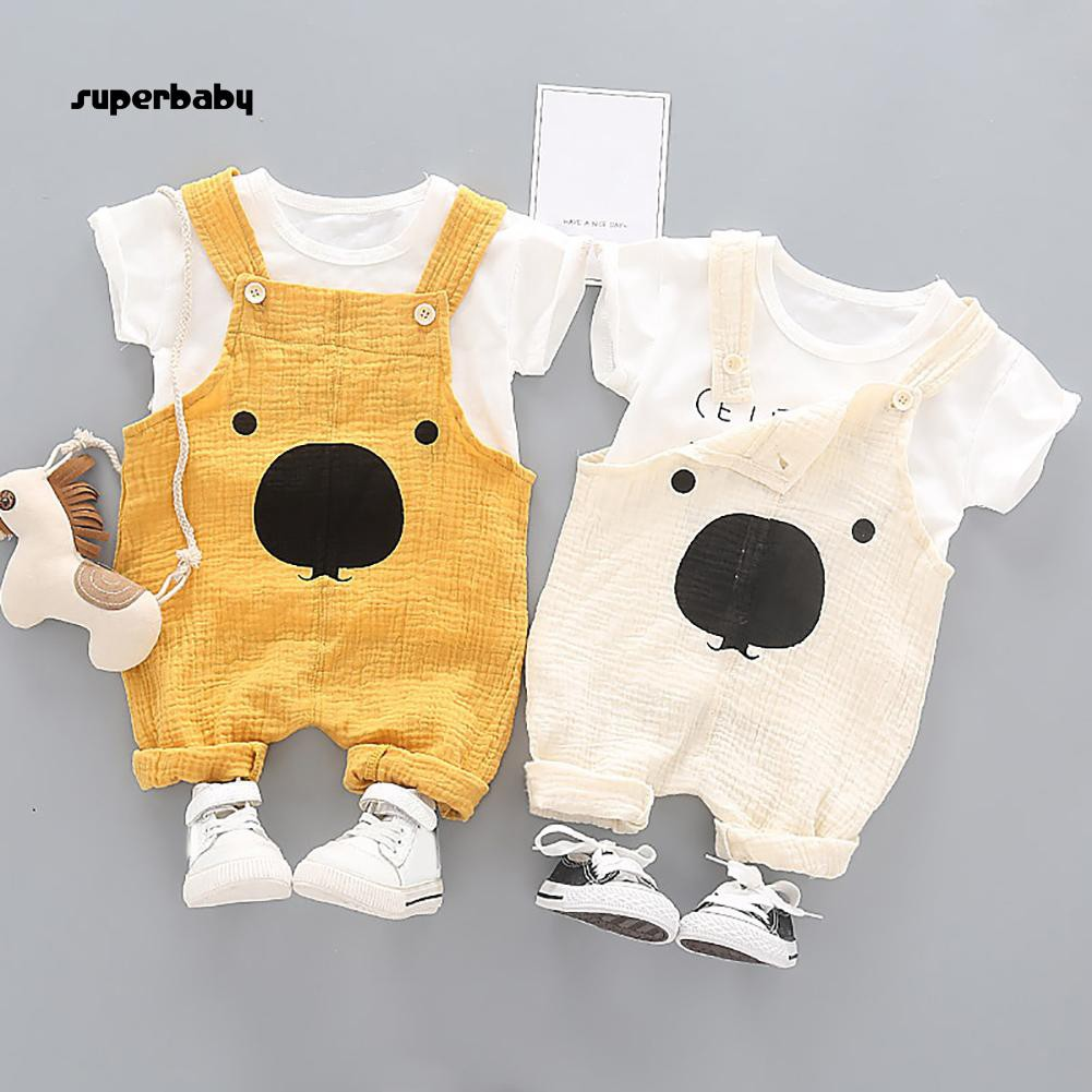 SBaby-2Pcs/Set Summer Kids Boys Cotton Bear Long Overalls Short Sleeve T-shirt Outfits