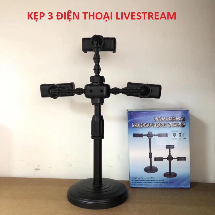 Kẹp điện thoại livestream để bàn giá rẻ 2 điện thoại 1 đèn và giá đỡ 3 kẹp điện thoại để bàn tiện ích